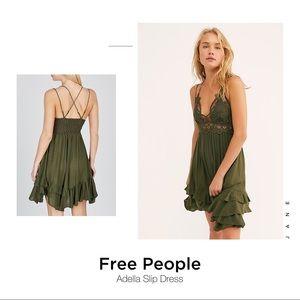 Free People Adella Army Green Slip dress